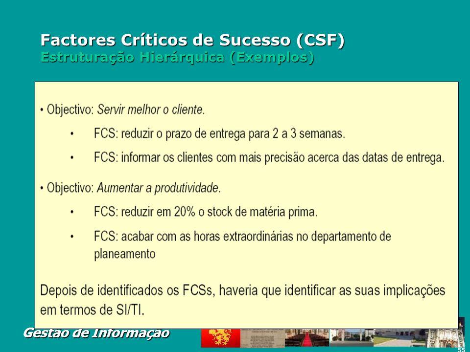 Factores Críticos de Sucesso (CSF) Estruturação Hierárquica (Exemplos)