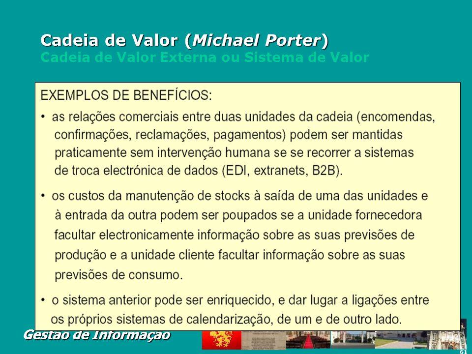 Cadeia de Valor (Michael Porter) Cadeia de Valor Externa ou Sistema de Valor