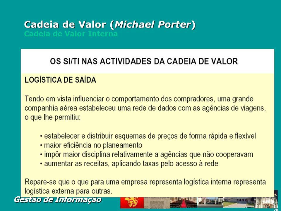Cadeia de Valor (Michael Porter) Cadeia de Valor Interna