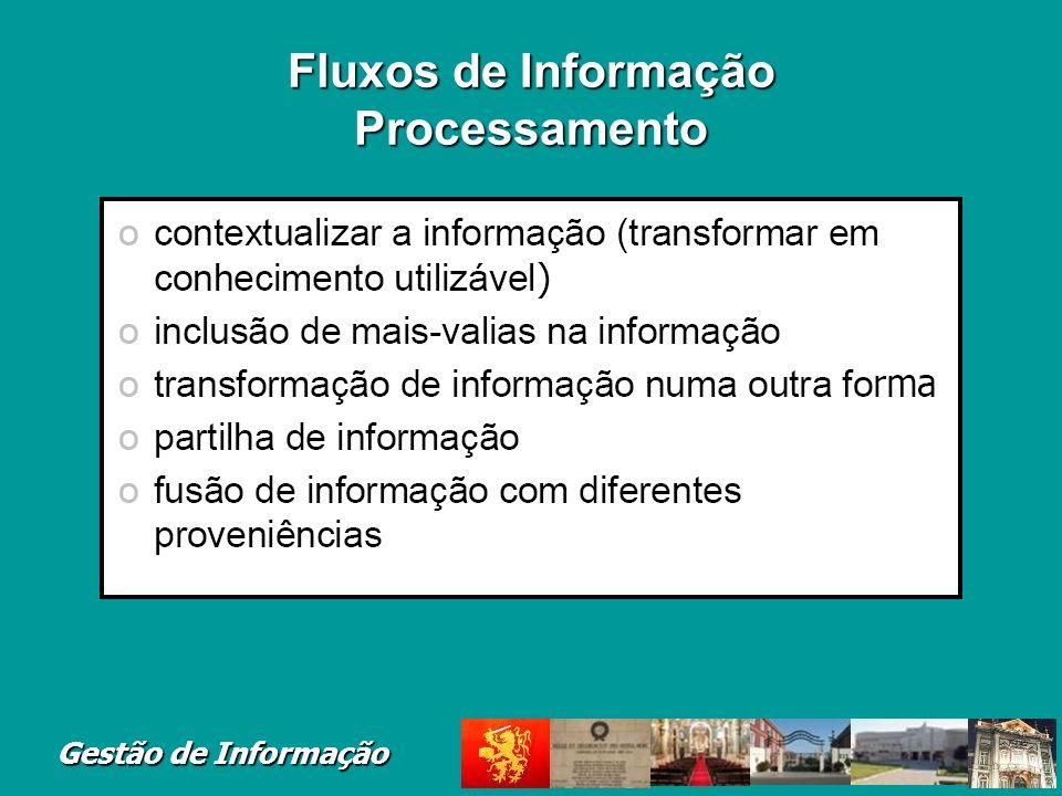 Fluxos de Informação Processamento