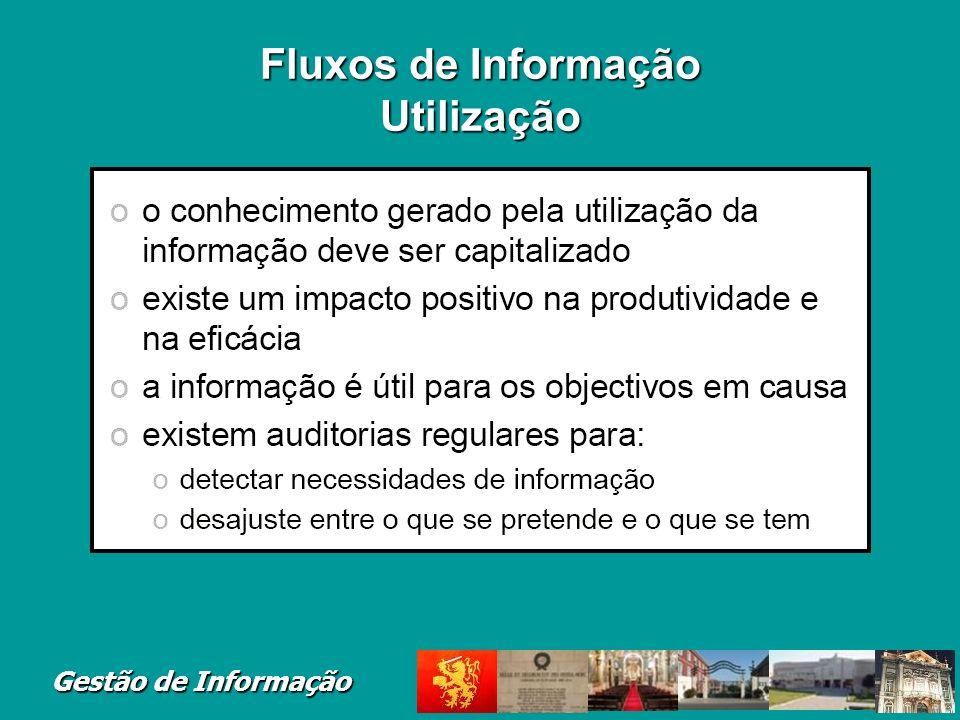 Fluxos de Informação Utilização