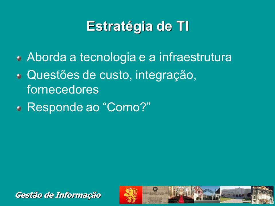 Estratégia de TI Aborda a tecnologia e a infraestrutura