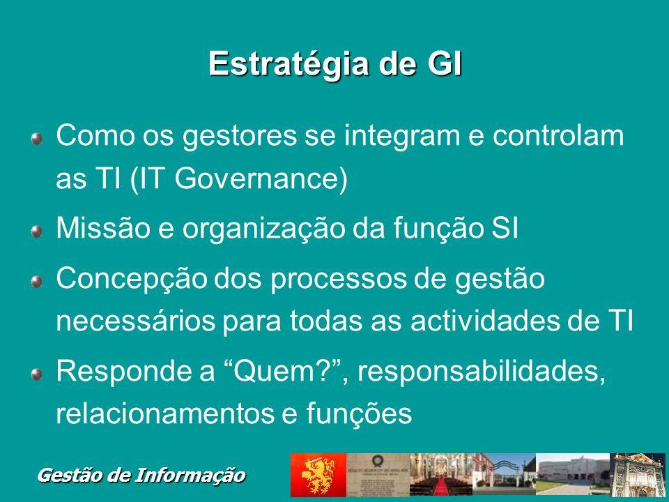 Estratégia de GI Como os gestores se integram e controlam as TI (IT Governance) Missão e organização da função SI.