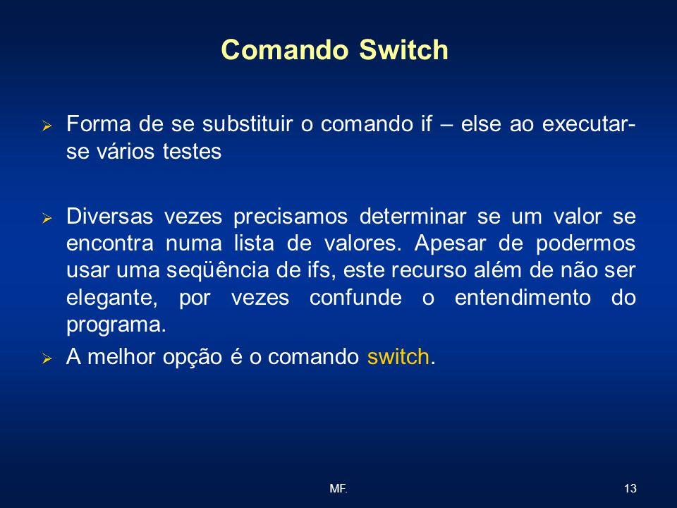 Comando Switch Forma de se substituir o comando if – else ao executar-se vários testes.