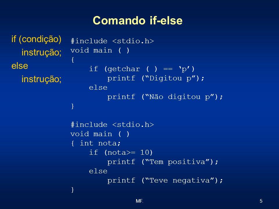 Comando if-else if (condição) instrução; else #include <stdio.h>