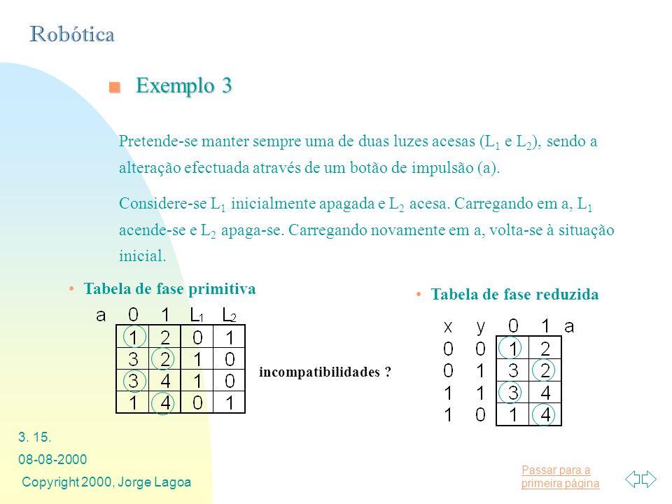 Exemplo 3 Pretende-se manter sempre uma de duas luzes acesas (L1 e L2), sendo a alteração efectuada através de um botão de impulsão (a).