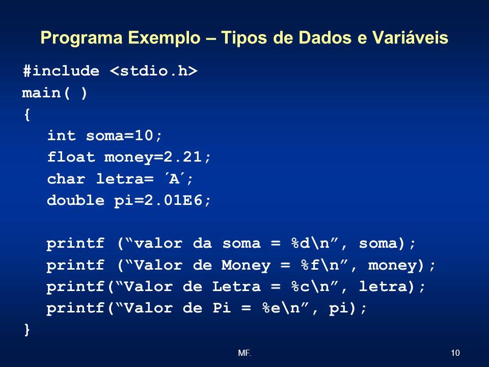 Programa Exemplo – Tipos de Dados e Variáveis