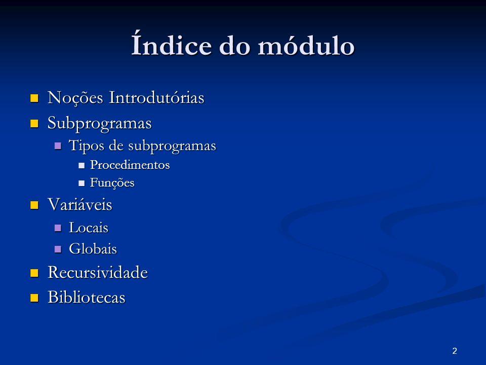 Índice do módulo Noções Introdutórias Subprogramas Variáveis