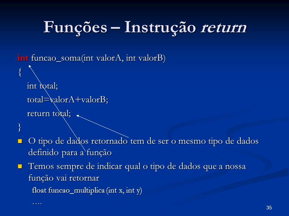 Funções – Instrução return