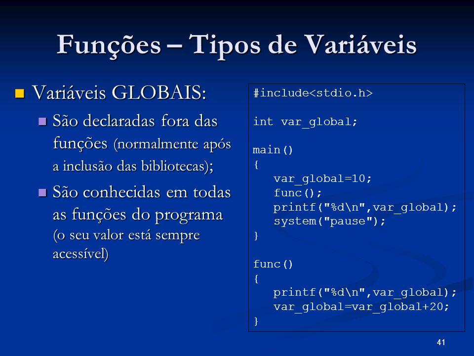 Funções – Tipos de Variáveis