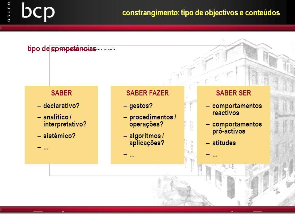 constrangimento: tipo de objectivos e conteúdos