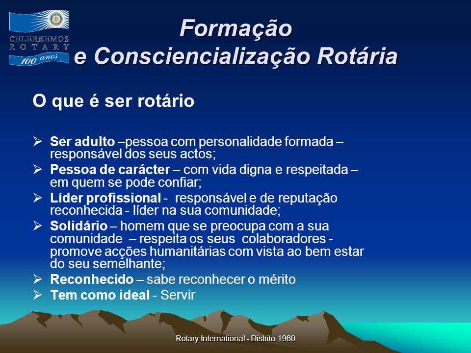 Formação e Consciencialização Rotária