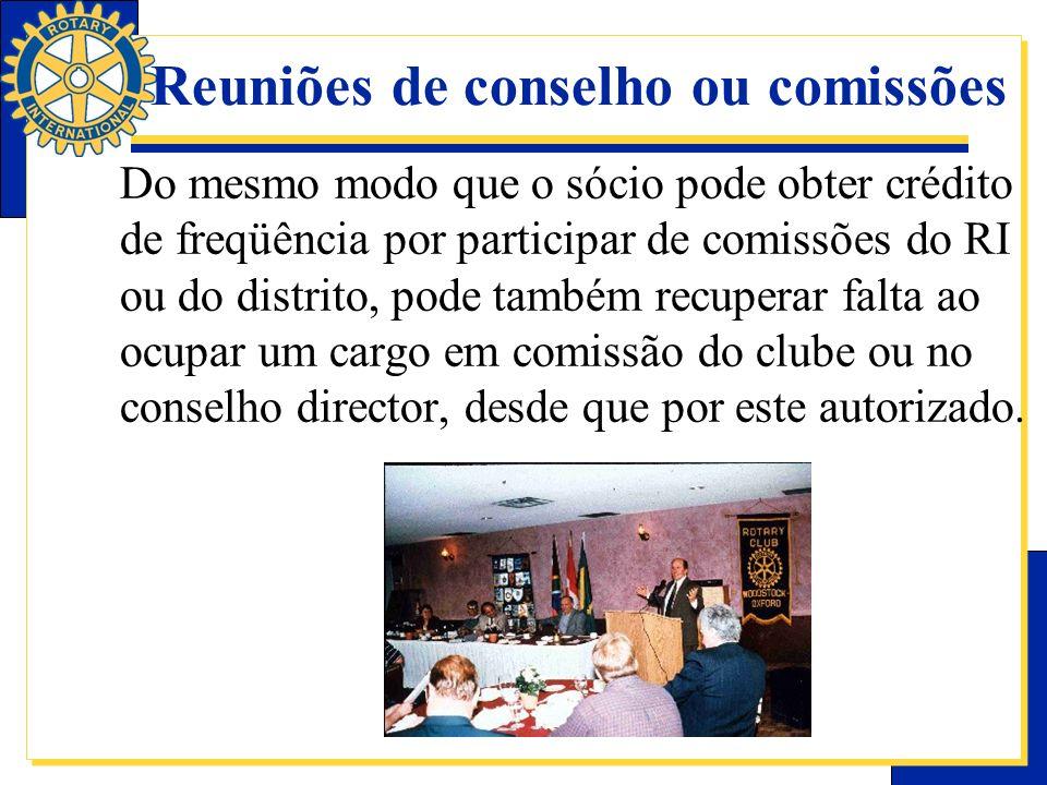 Reuniões de conselho ou comissões
