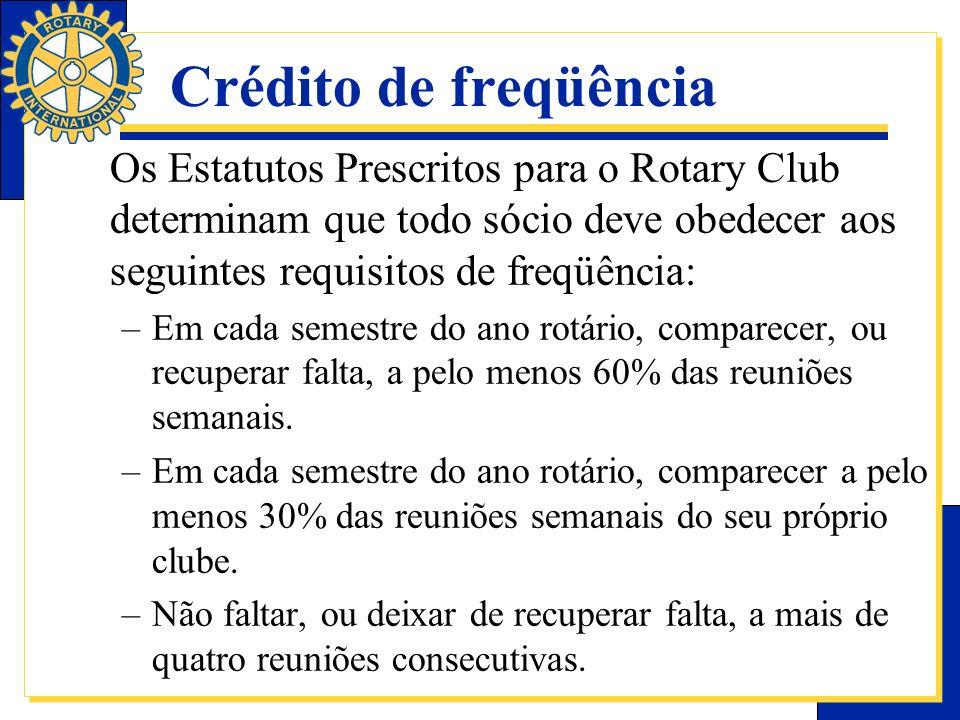 Crédito de freqüência Os Estatutos Prescritos para o Rotary Club determinam que todo sócio deve obedecer aos seguintes requisitos de freqüência: