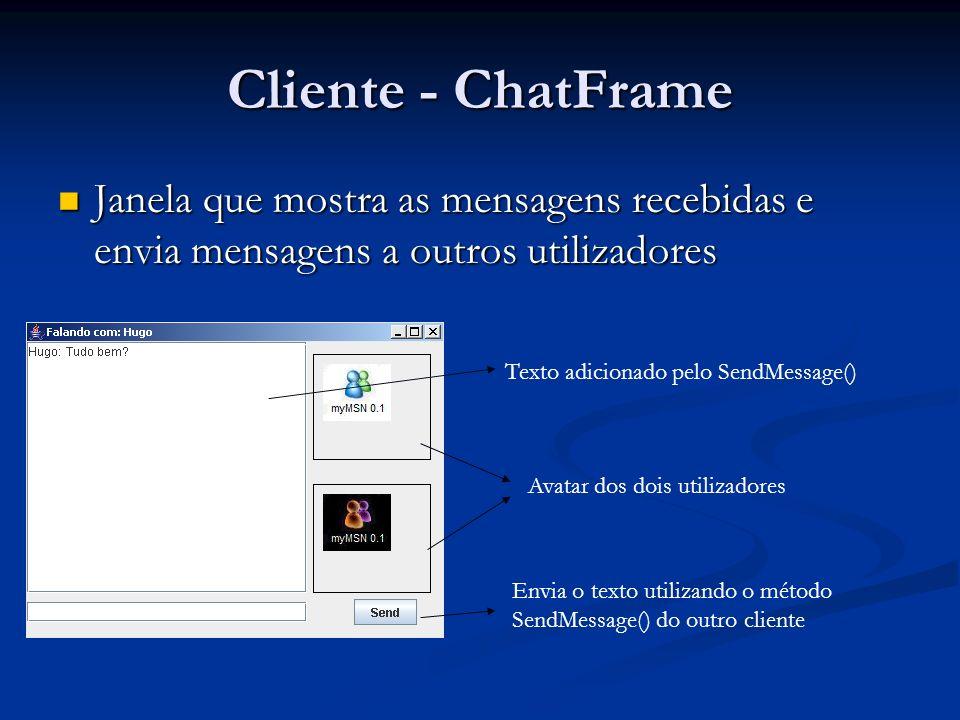 Cliente - ChatFrame Janela que mostra as mensagens recebidas e envia mensagens a outros utilizadores.