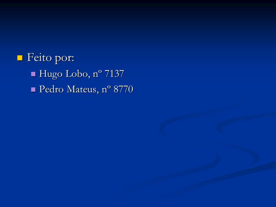 Feito por: Hugo Lobo, nº 7137 Pedro Mateus, nº 8770