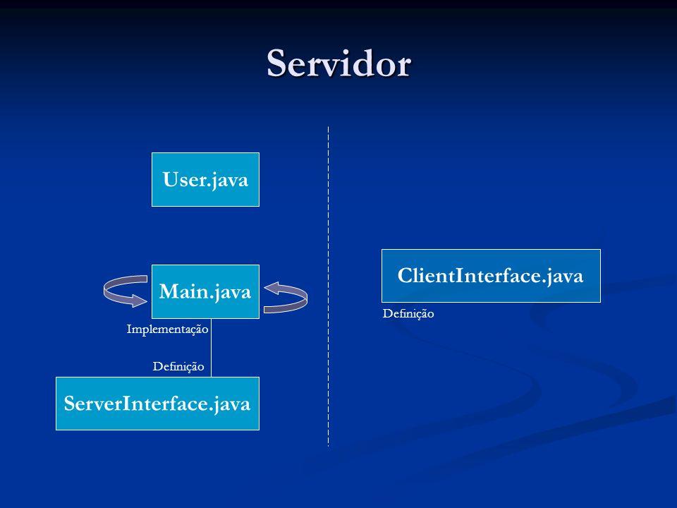 Servidor User.java ClientInterface.java Main.java ServerInterface.java