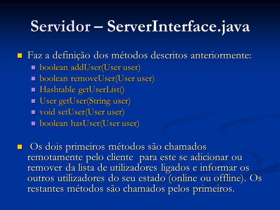 Servidor – ServerInterface.java