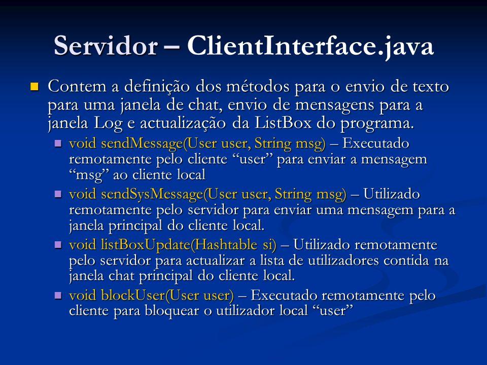 Servidor – ClientInterface.java