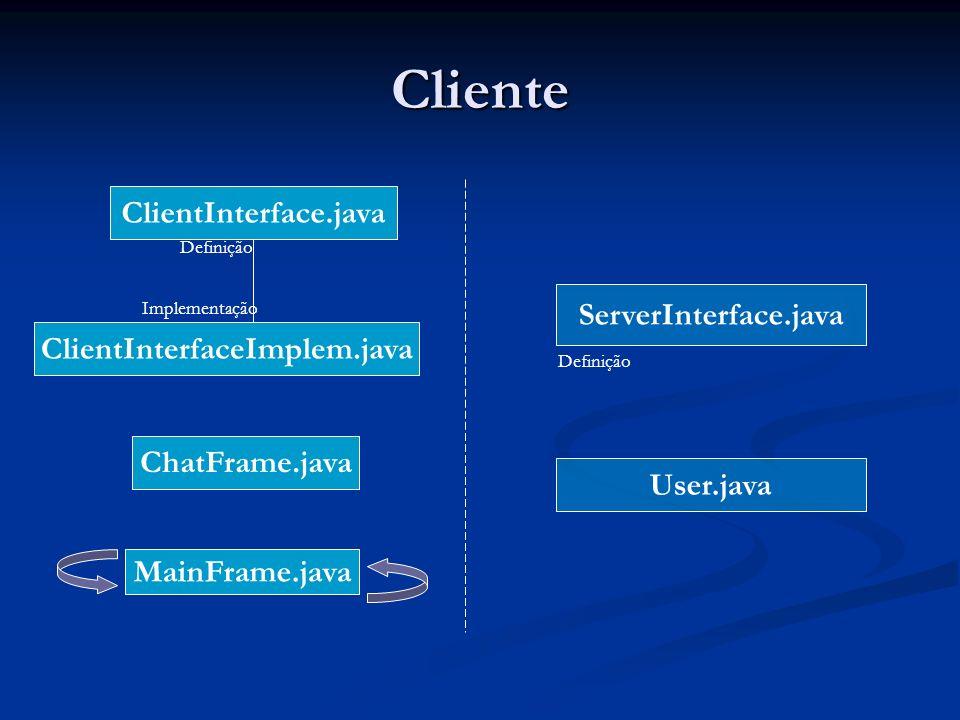 Cliente ClientInterface.java ServerInterface.java