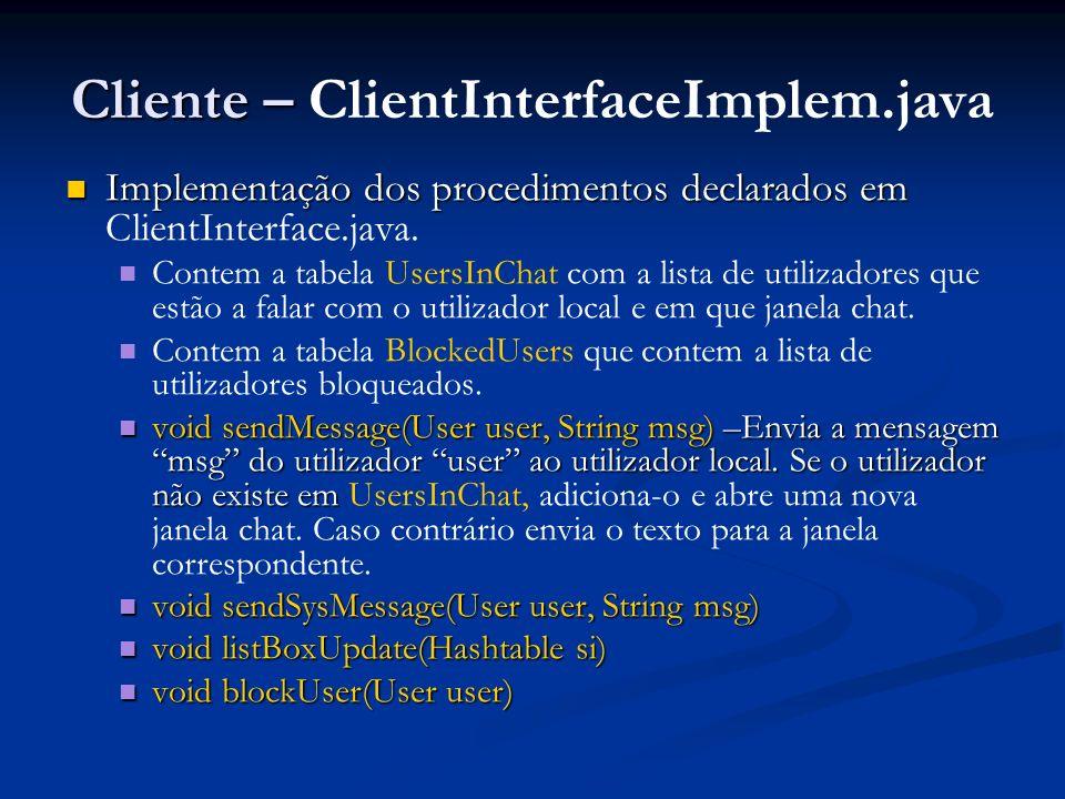 Cliente – ClientInterfaceImplem.java