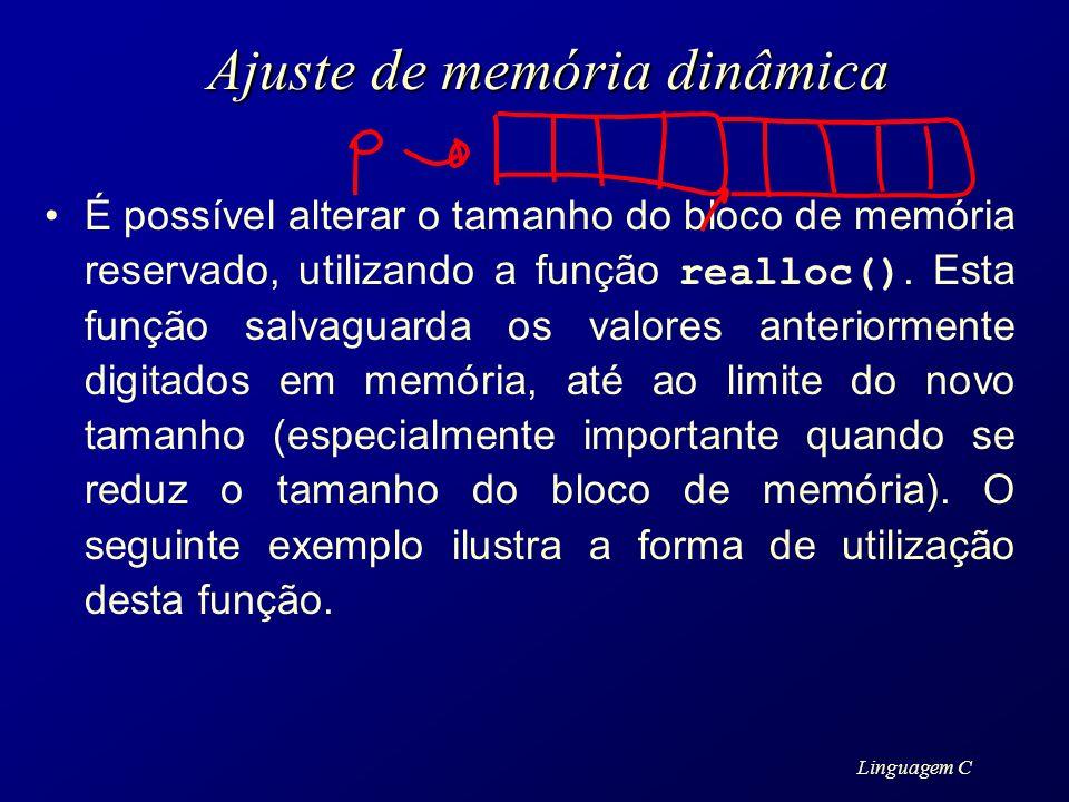 Ajuste de memória dinâmica