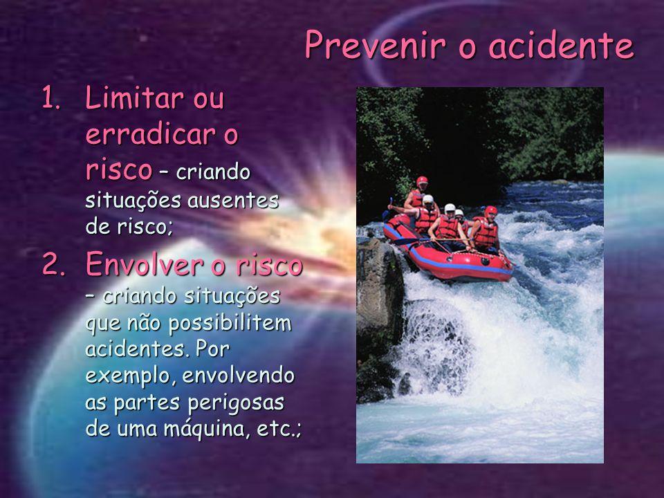 Prevenir o acidente Limitar ou erradicar o risco – criando situações ausentes de risco;