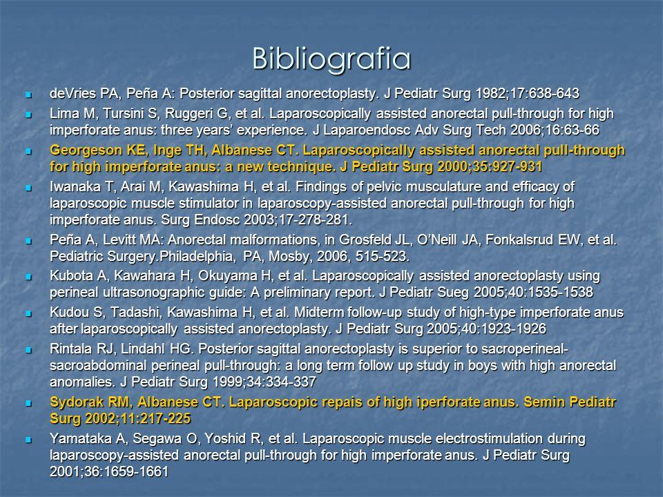 Bibliografia deVries PA, Peña A: Posterior sagittal anorectoplasty. J Pediatr Surg 1982;17:638-643.