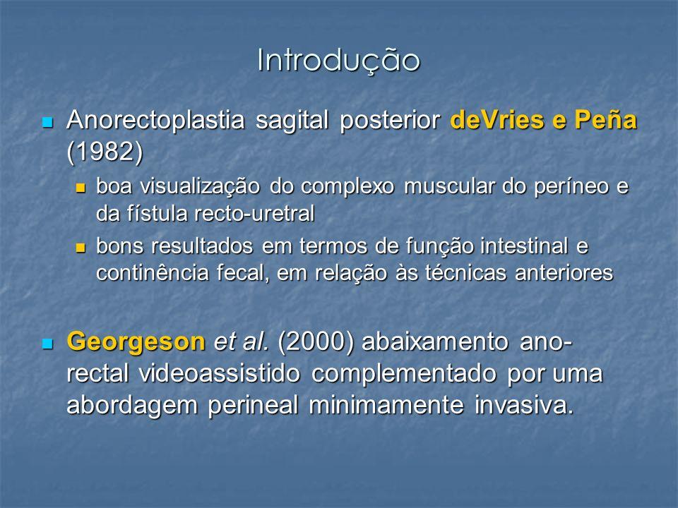 Introdução Anorectoplastia sagital posterior deVries e Peña (1982)