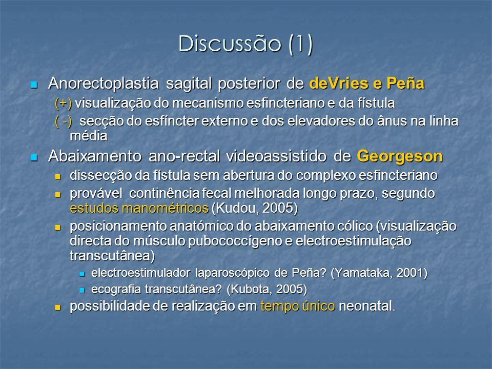 Discussão (1) Anorectoplastia sagital posterior de deVries e Peña