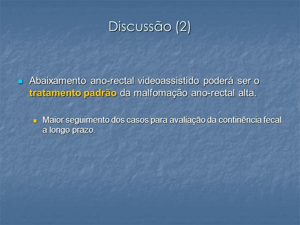 Discussão (2) Abaixamento ano-rectal videoassistido poderá ser o tratamento padrão da malfomação ano-rectal alta.