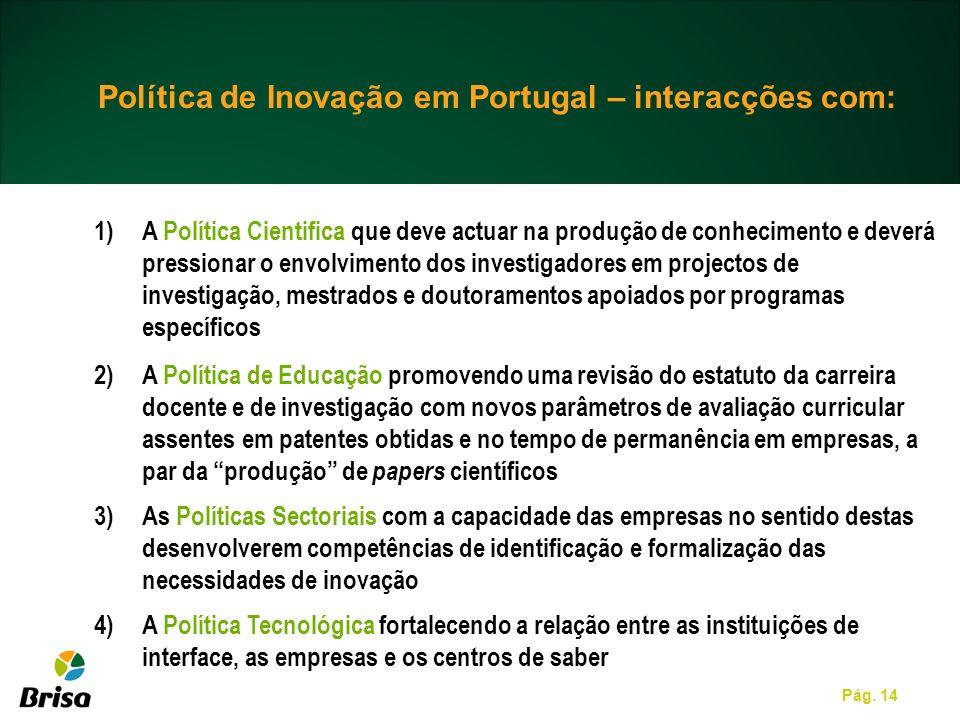 Política de Inovação em Portugal – interacções com: