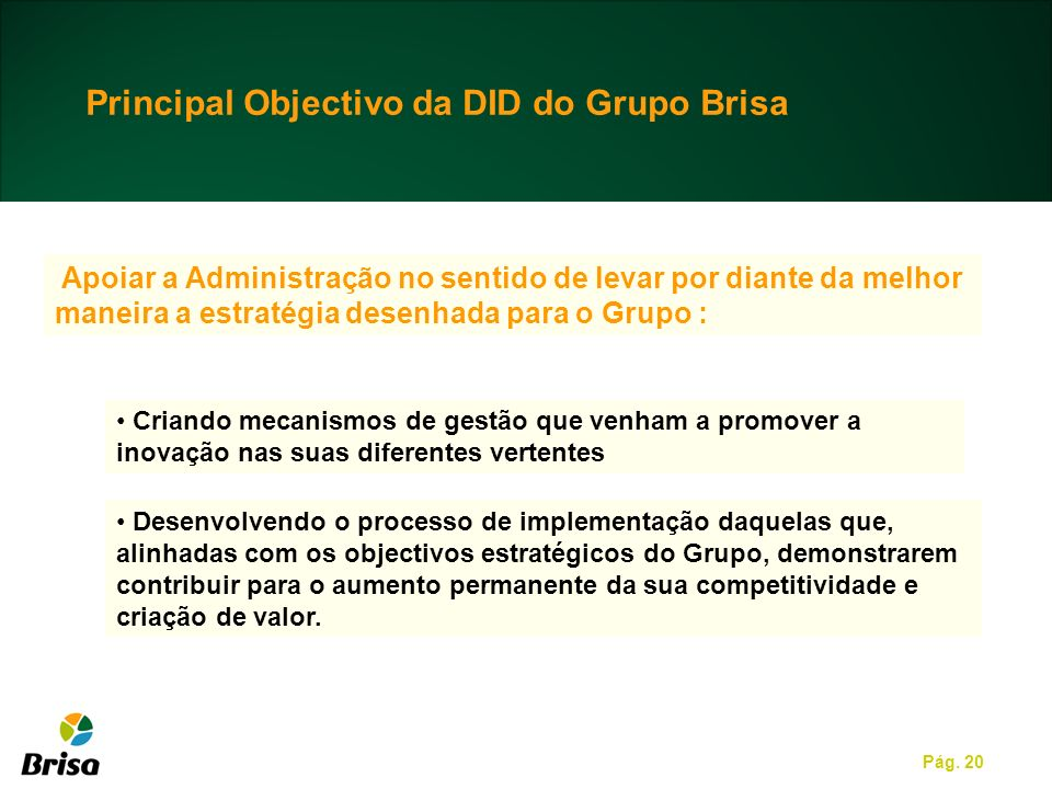 Principal Objectivo da DID do Grupo Brisa