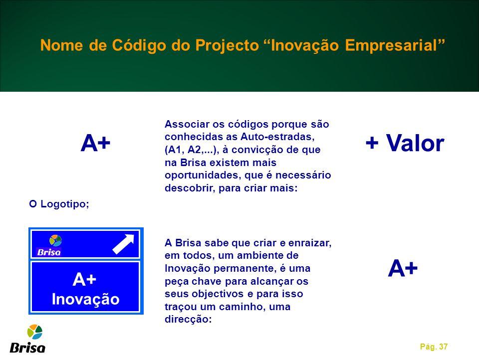 + Valor A+ Nome de Código do Projecto Inovação Empresarial Inovação