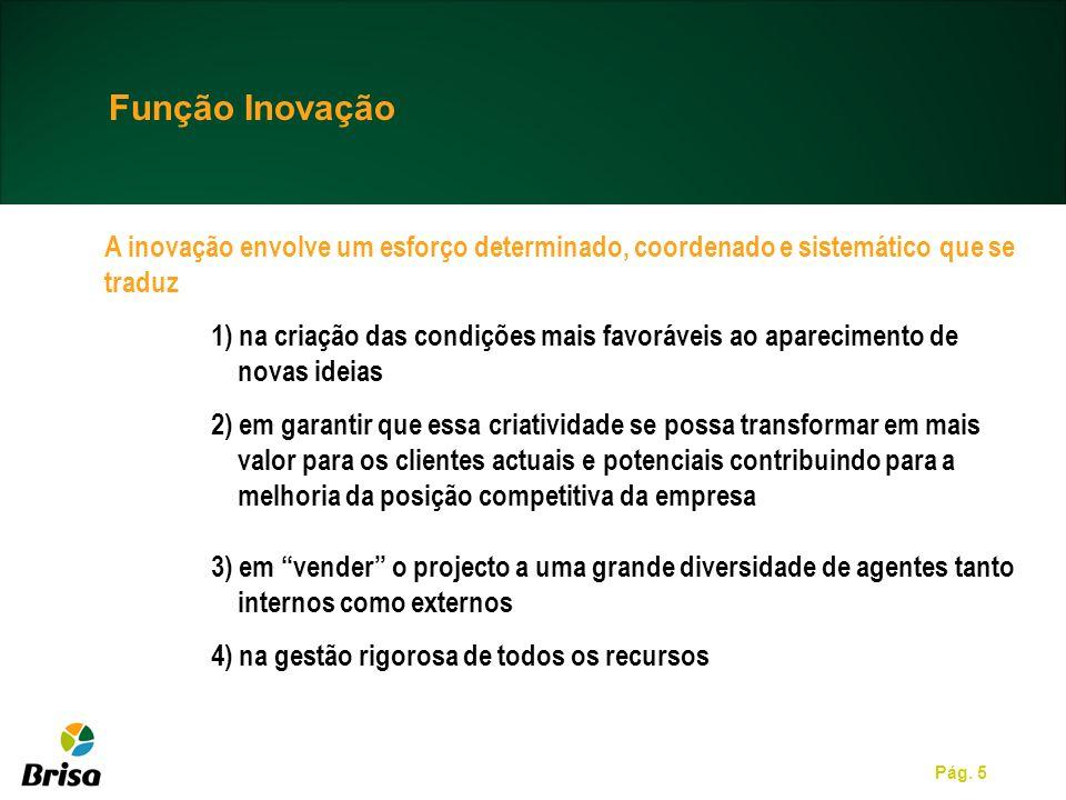 Função Inovação A inovação envolve um esforço determinado, coordenado e sistemático que se traduz.