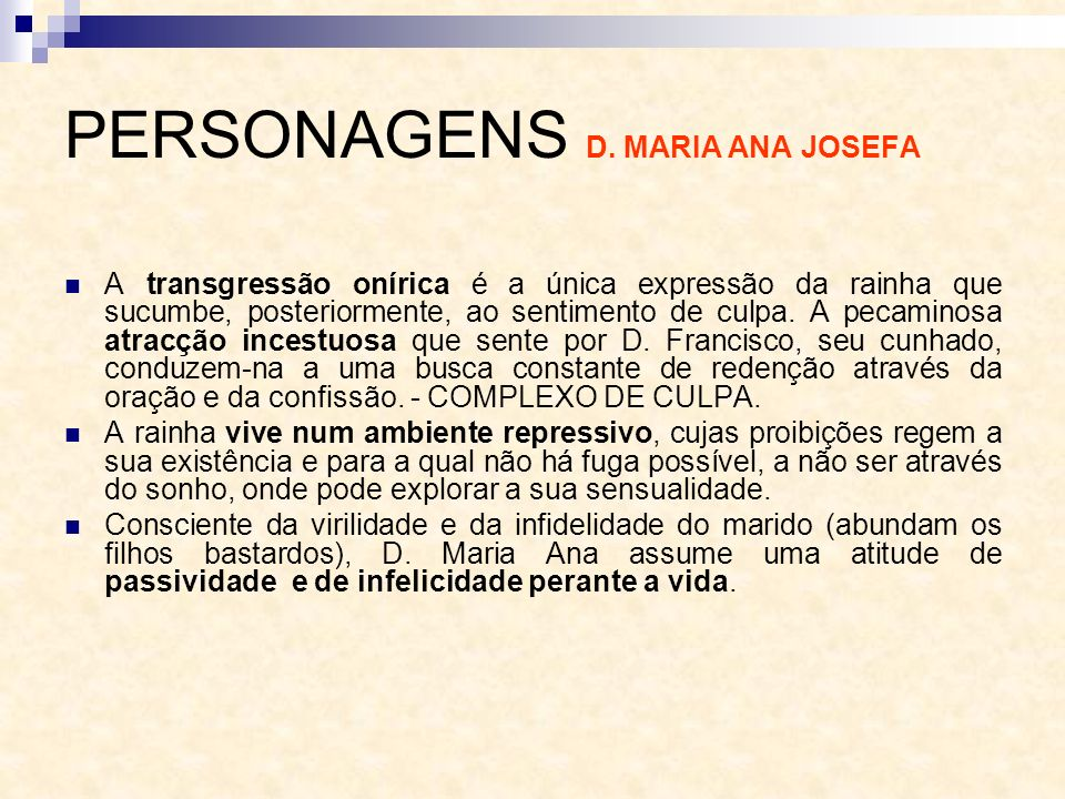 PERSONAGENS D. MARIA ANA JOSEFA