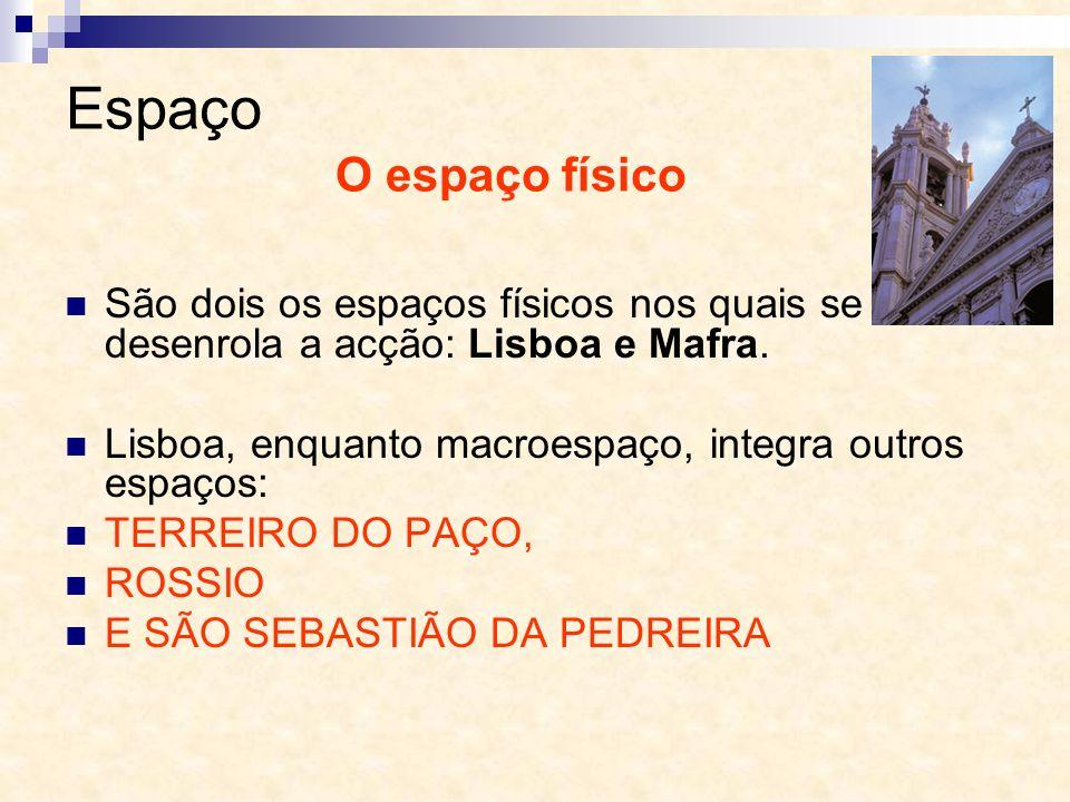 Espaço O espaço físico. São dois os espaços físicos nos quais se desenrola a acção: Lisboa e Mafra.