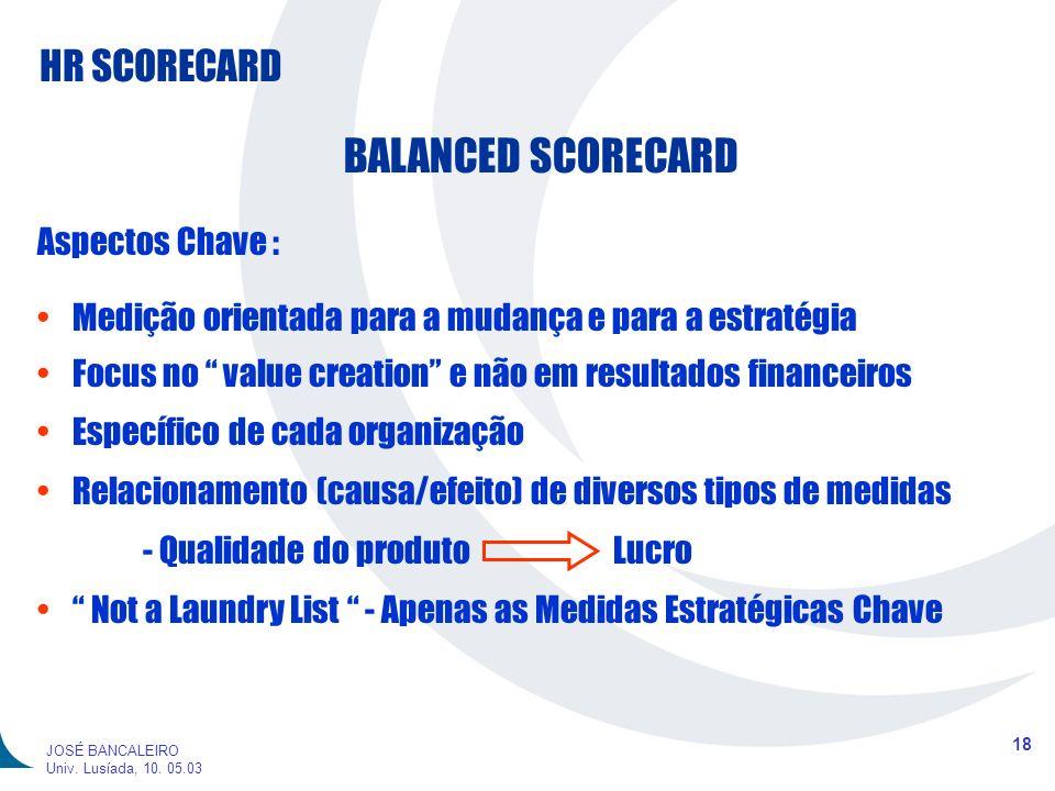 BALANCED SCORECARD Aspectos Chave :