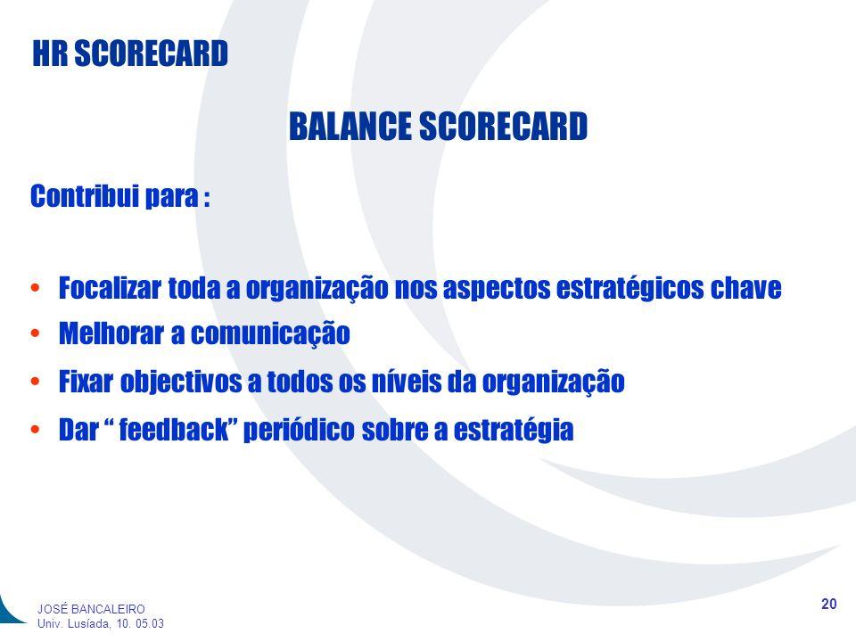 BALANCE SCORECARD Contribui para :