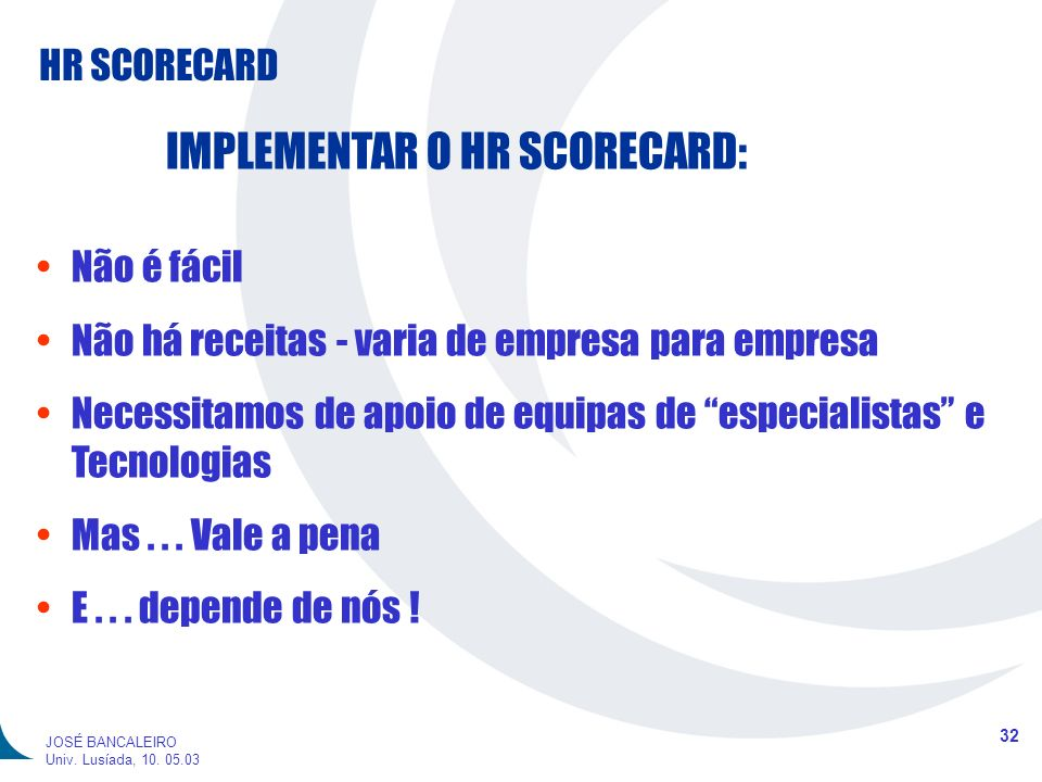 IMPLEMENTAR O HR SCORECARD: