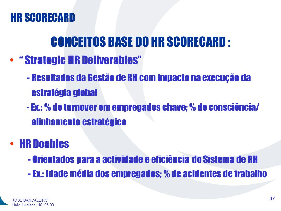 CONCEITOS BASE DO HR SCORECARD :