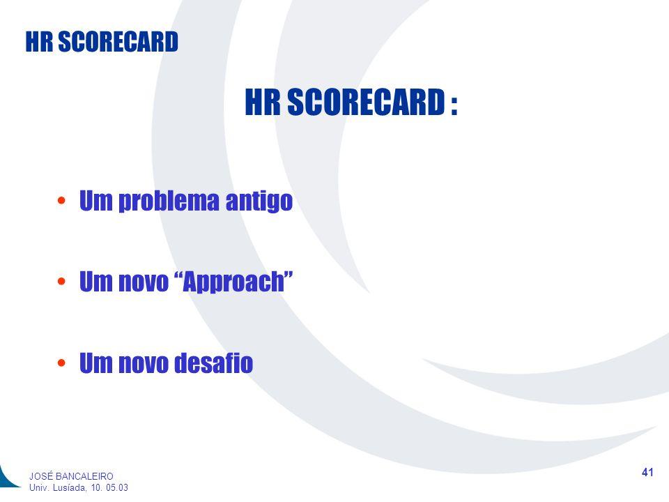 HR SCORECARD : Um problema antigo Um novo Approach Um novo desafio