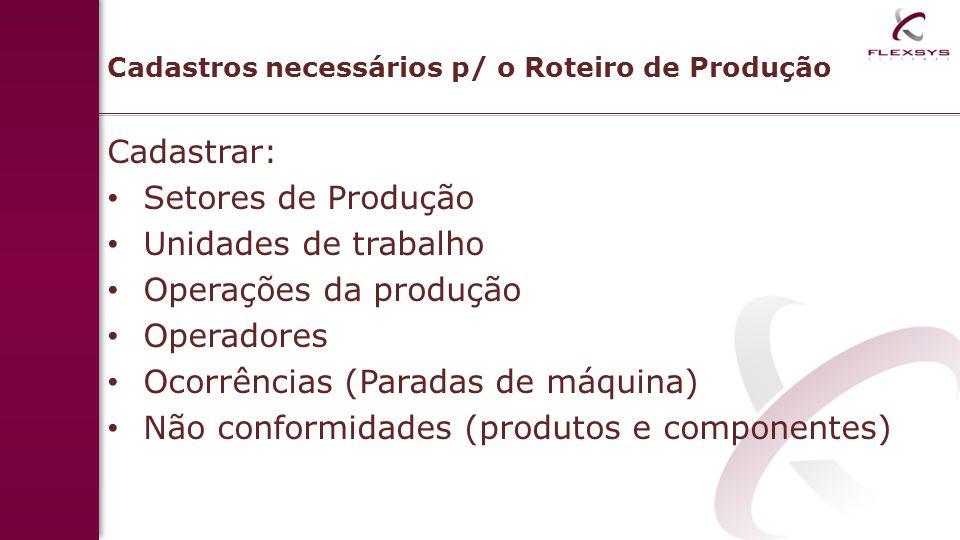 Cadastros necessários p/ o Roteiro de Produção
