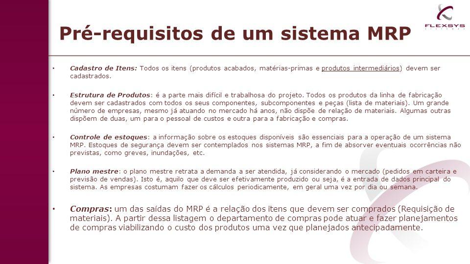 Pré-requisitos de um sistema MRP