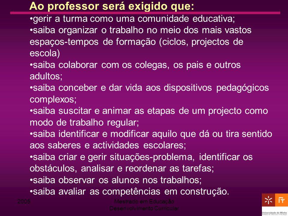 Mestrado em Educação Desenvolvimento Curricular