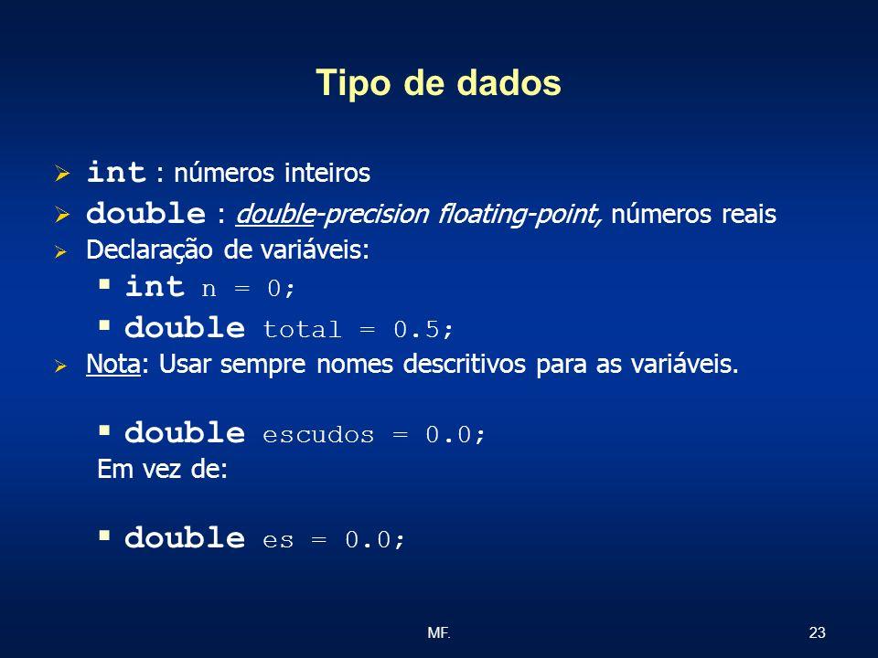 Tipo de dados int : números inteiros