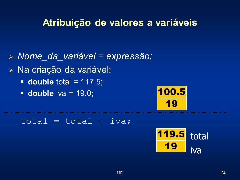 Atribuição de valores a variáveis