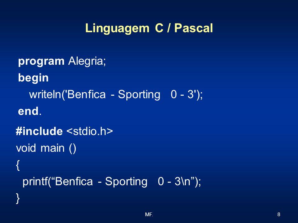 Linguagem C / Pascal program Alegria; begin