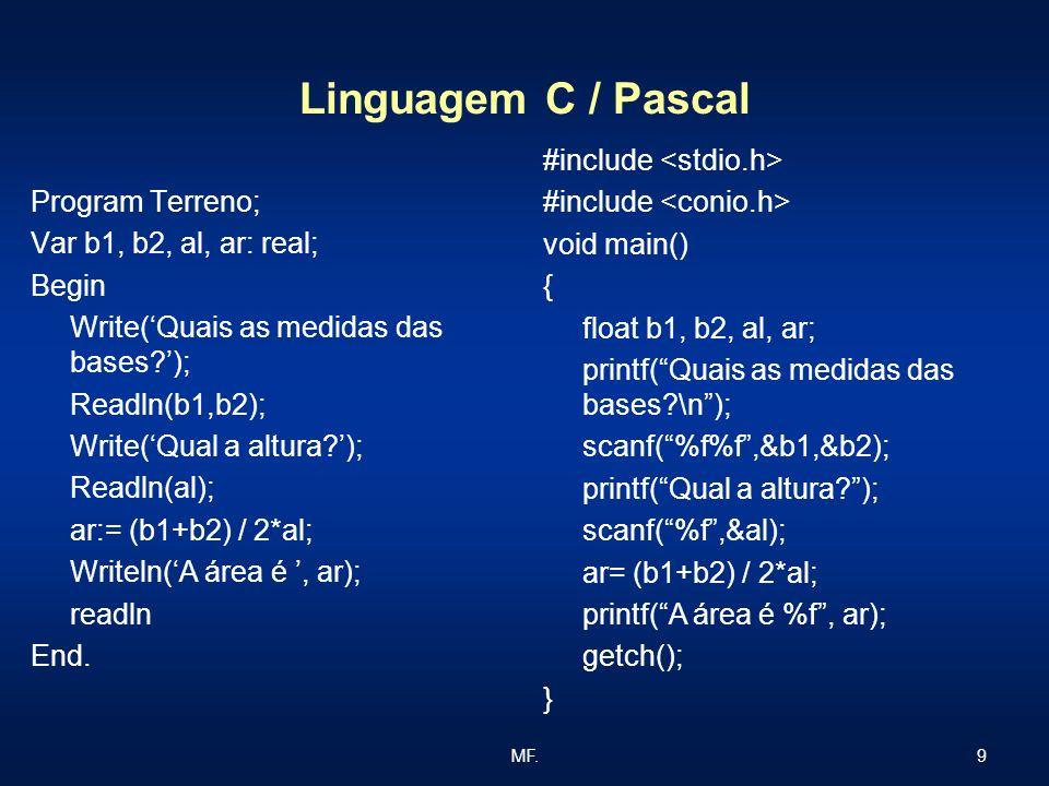 Linguagem C / Pascal #include <stdio.h> #include <conio.h>