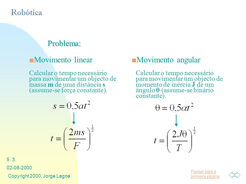 Problema: Movimento linear Movimento angular